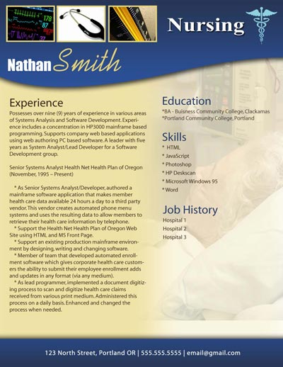 Nursing Resume Template  Free Templates For Resumes