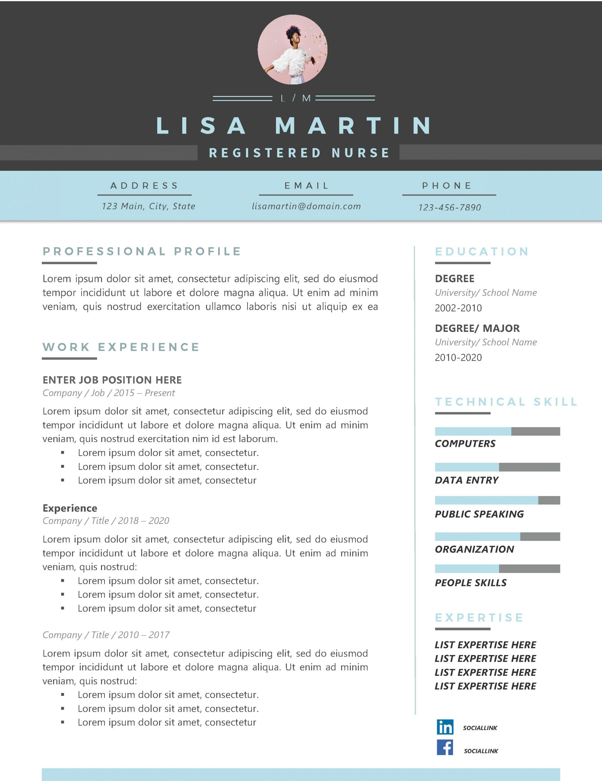 Blue Nurse Resume Template Free
