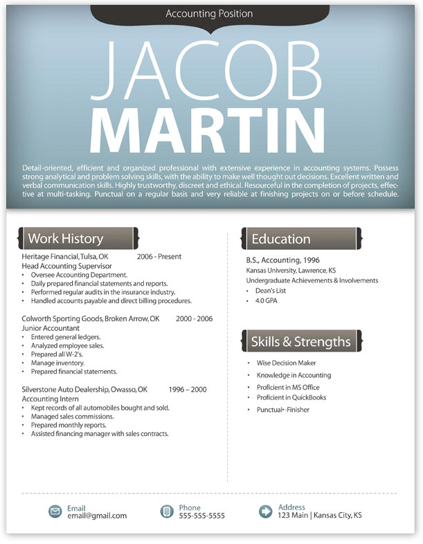 free modern resume template 4 free resume templates - Contemporary Resume Format